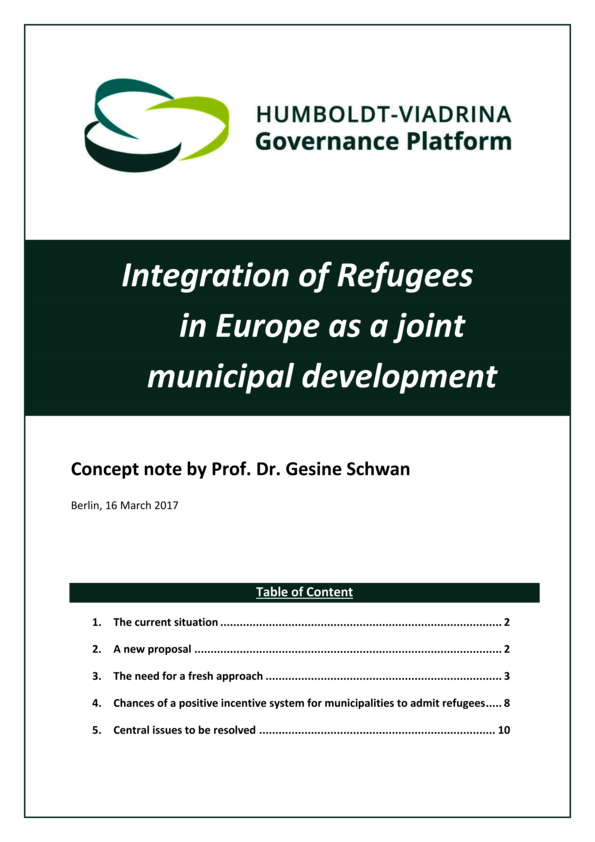 Concept note (long): Integration of Refugees in Europe as a joint municipal development