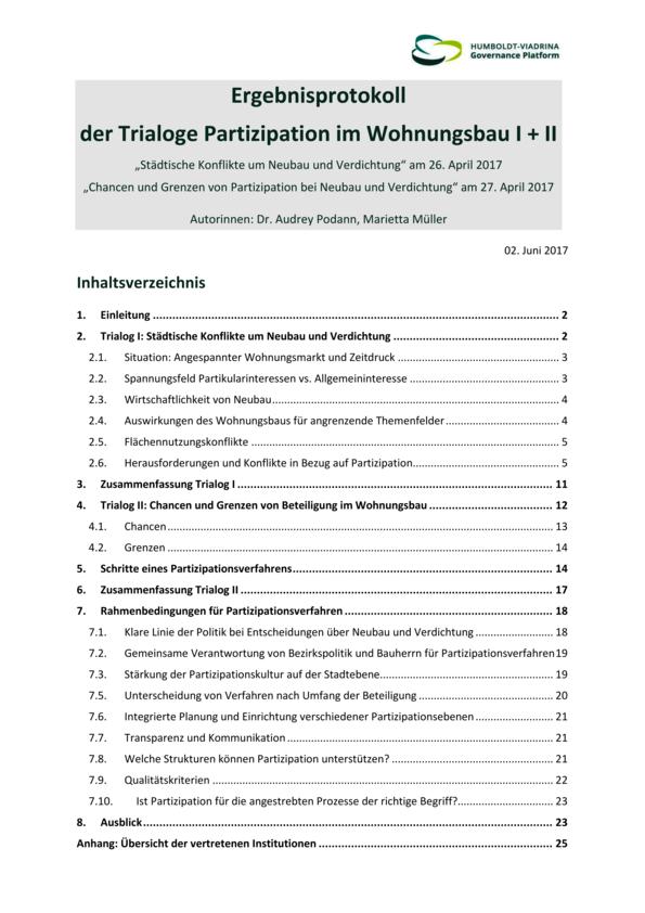Results protocol of trialogs on participation in housing construction I + II