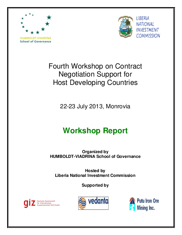 Negotiation Support Initiative – 4. Workshop Report (2013)