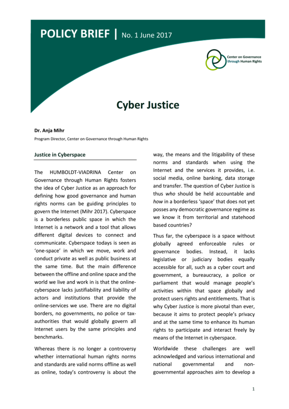 Policy Brief No. 1 | Cyber Justice