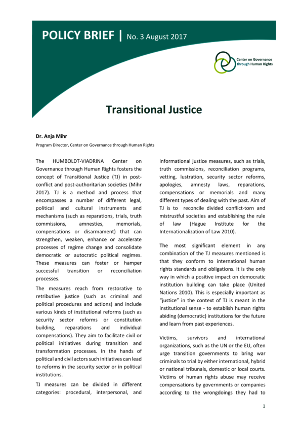 Policy Brief No. 2 | Transitional Justice
