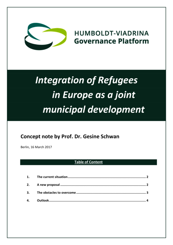 Concept note (short): Integration of Refugees in Europe as a joint municipal development
