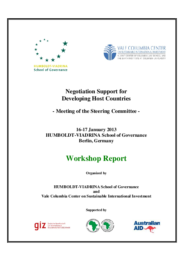 Negotiation Support Initiative – 3. Workshop Report (2013)