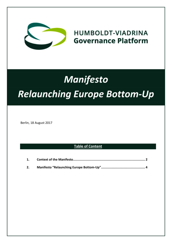 Manifesto Relaunching Europe Bottom-Up