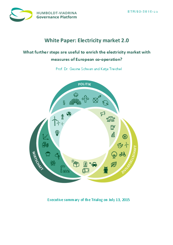 Executive Summary White Paper Electricity Market Design