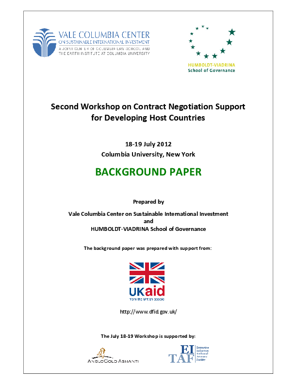 Negotiation Support Initiative – Background Paper for 2. Workshop (July 2012)