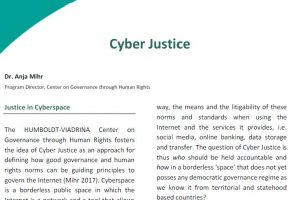 Policy Brief No. 1 Cyber Justice 300x200 - Policy Briefs des Center on Governance through Human Rights