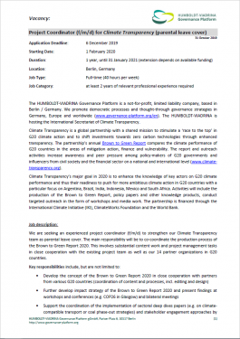 Stellenausschreibung CT 2019 265x375 - Vacancy: Project Coordinator (f/m/d) for Climate Transparency (parental leave cover)