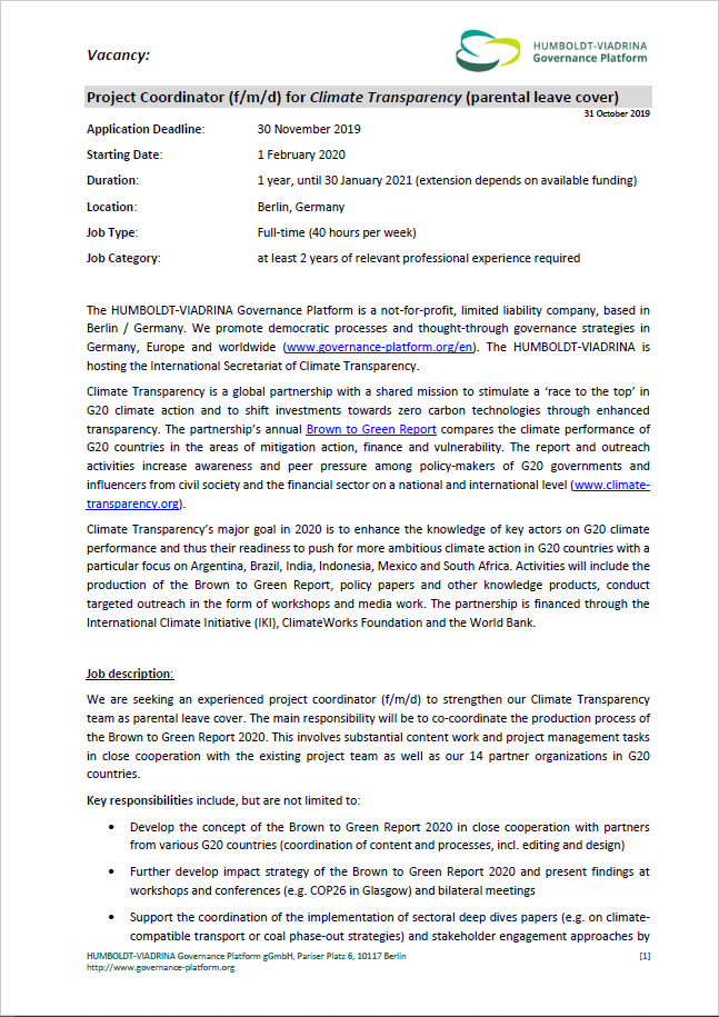 Vacancy Cover Page - Vacancy: Project Coordinator (f/m/d) for Climate Transparency (parental leave cover)
