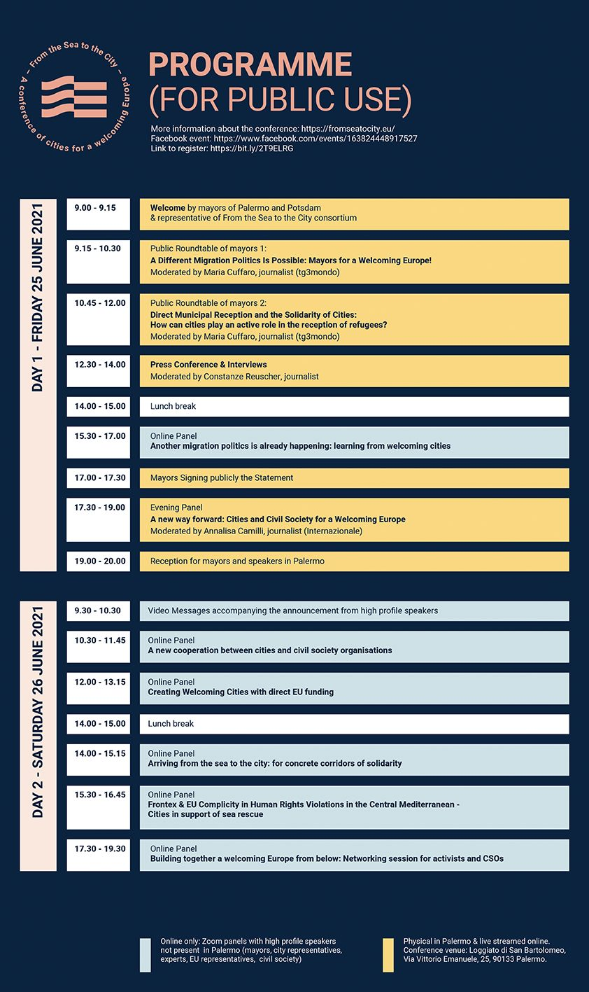 FS2C programma DEF PUBLIC - Programme - From the Sea to the City: a conference of cities for a Welcoming Europe