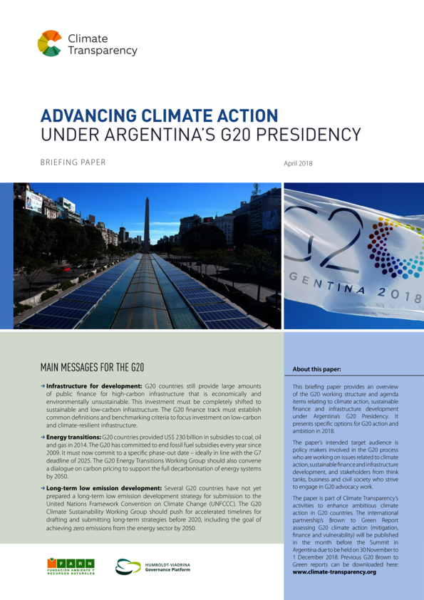 Briefing paper: Climate action under Argentina's G20 Presidency