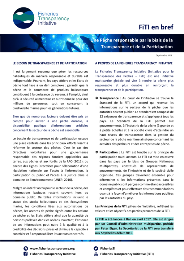 Fisheries Transparency Initiative (FiTI) – En bref